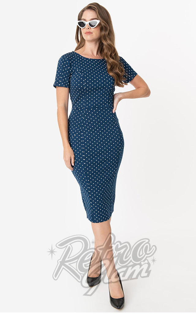 Unique Vintage Mod Wiggle Dress in Navy & White Pin Dot