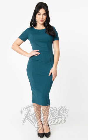 Unique Vintage Mod Wiggle Dress in Teal