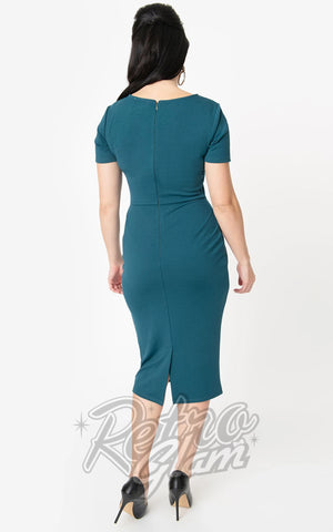 Unique Vintage Mod Wiggle Dress in Teal back