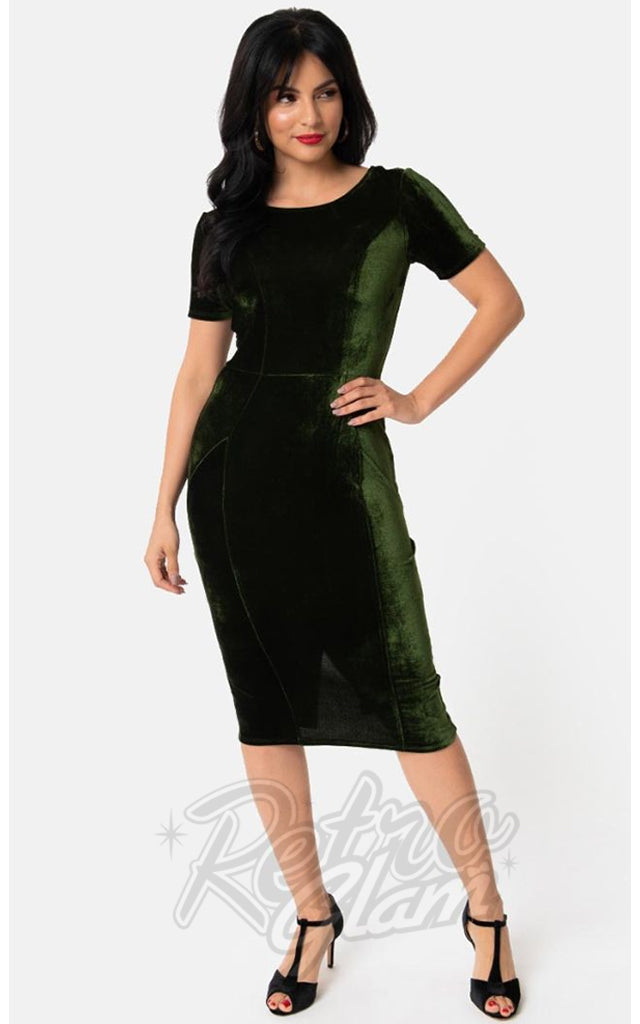 Unique Vintage Velvet Mod Wiggle Dress in Green