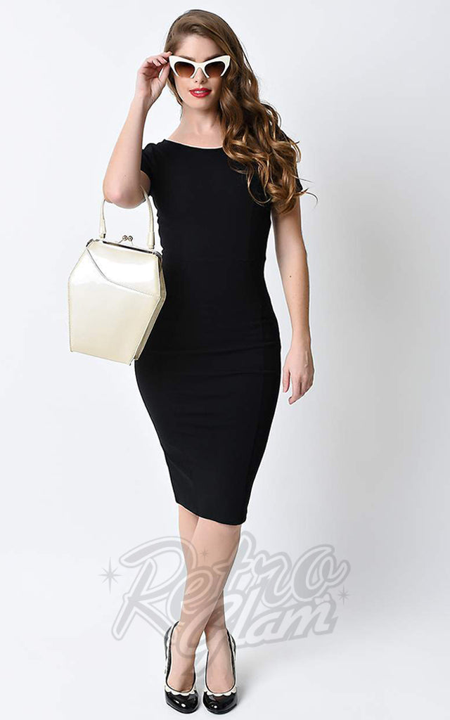 Unique Vintage Mod Wiggle Dress in Black