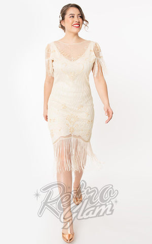 Unique Vintage 1920s Nadine Flapper Dress in Ivory
