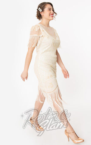 Unique Vintage 1920s Nadine Flapper Dress in Ivory side