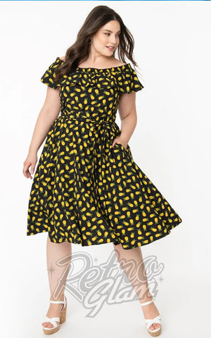 Unique Vintage Nashville Swing Dress in Black Pineapple Print curvy