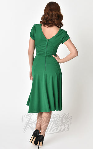 Unique Vintage 1940's Natalie Swing Dress in Green back