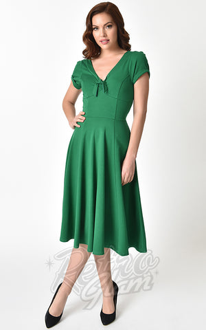 Unique Vintage 1940's Natalie Swing Dress in Green