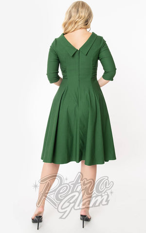 Unique Vintage 1950s Nicola Swing Dress in Emerald back