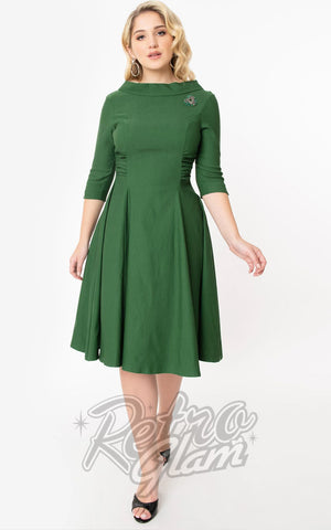 Unique Vintage 1950s Nicola Swing Dress in Emerald