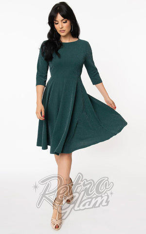 Unique Vintage 1950s Nicole Swing Dress in Emerald Sparkle
