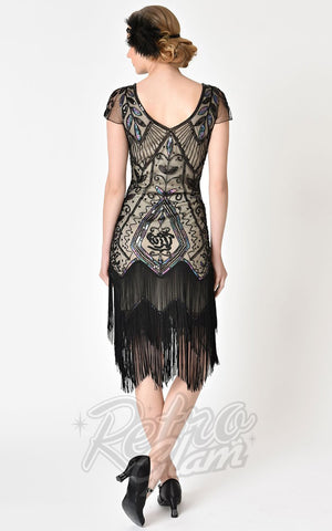 Unique Vintage Black Rose & Champagne Noele Flapper Dress back