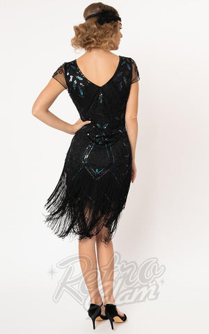 Unique Vintage Black Noele Flapper Dress back