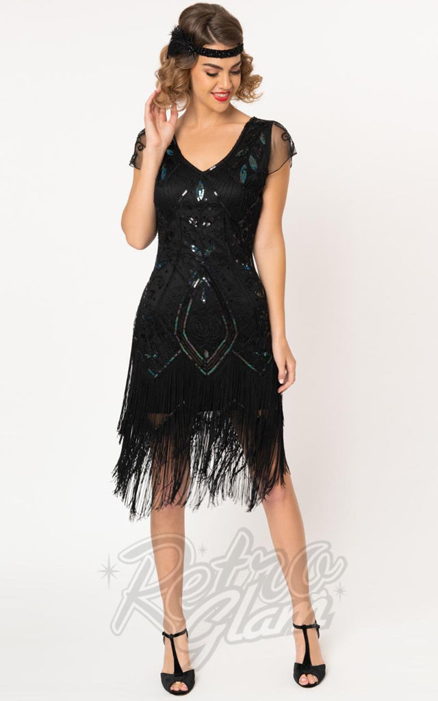 Unique Vintage Black Noele Flapper Dress