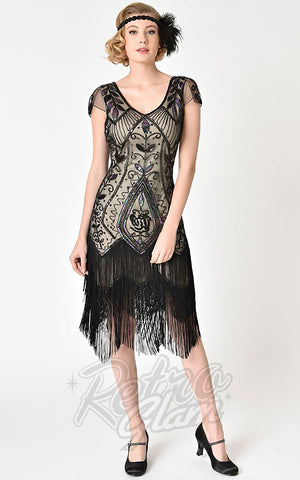 Unique Vintage Black Rose & Champagne Noele Flapper Dress