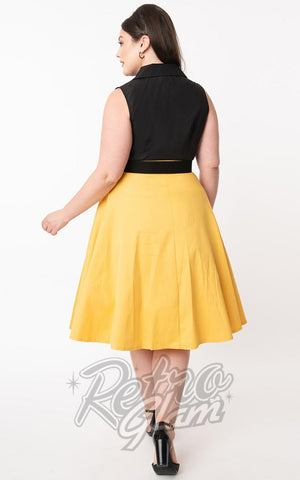 Unique Vintage Oakley Swing Skirt in Mustard Yellow curvy back