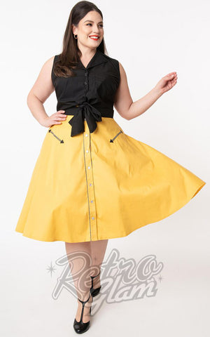 Unique Vintage Oakley Swing Skirt in Mustard Yellow curvy