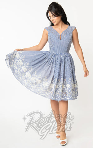 Unique Vintage Olive Blue Stripe & Embroidered Dress