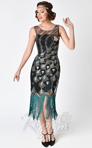 Unique Vintage 1920's Antoinette Peacock Flapper Dress