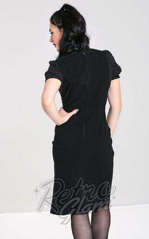 Hell Bunny Claire Pinafore Pencil Skirt in Black back