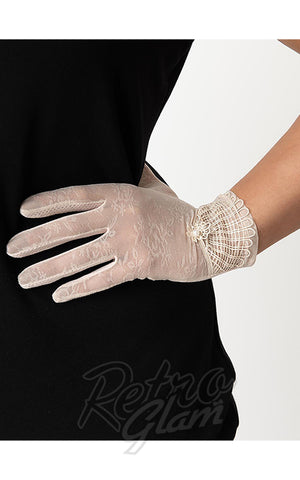 Unique Vintage Deco Floral Mesh Wrist Gloves in assorted colors