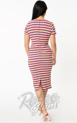 Unique Vintage Presley Wiggle Dress in Bright Multicolor Stripe back