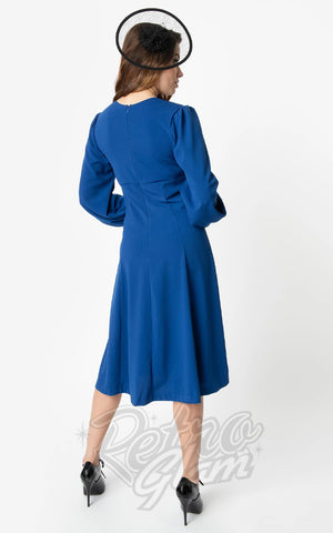 Unique Vintage X Micheline Pitt Pris Dress in Royal Blue back