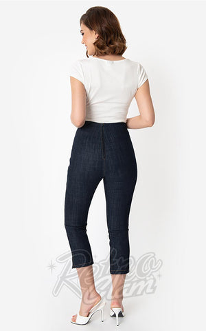 Unique Vintage Denim Blue Rachelle Capri Pants back