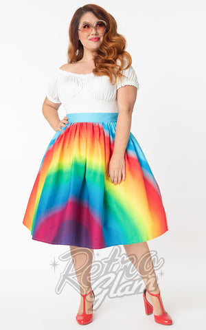 Unique Vintage 1950s Swing Skirt in Rainbow Print curvy