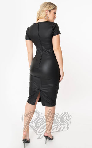 Unique Vintage Robbie Wiggle Dress in Faux Leather back