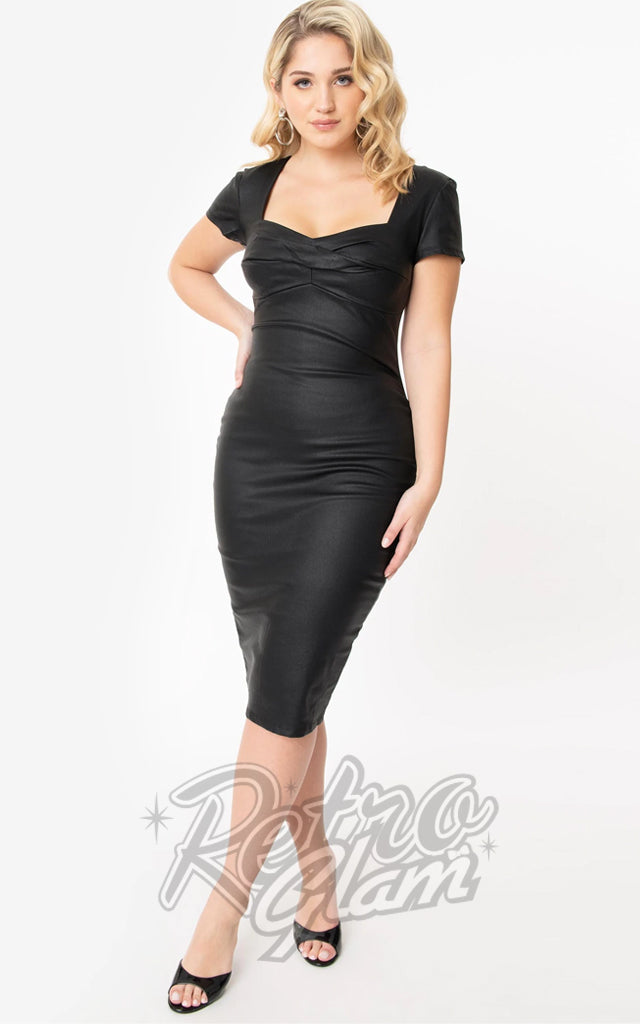 Unique Vintage Robbie Wiggle Dress in Faux Leather