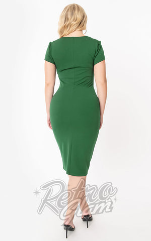 Unique Vintage Robbie Wiggle Dress in Emerald back