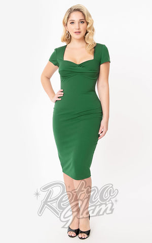 Unique Vintage Robbie Wiggle Dress in Emerald