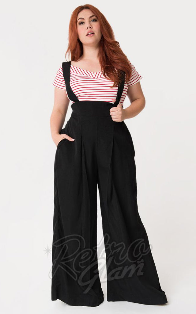 Unique Vintage Rochelle Suspender Pants in Black