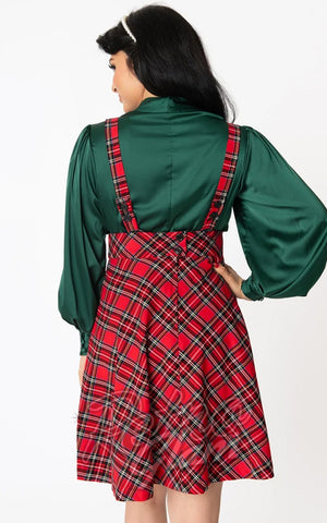 Unique Vintage Ruth Suspender Skirt in Red Plaid back