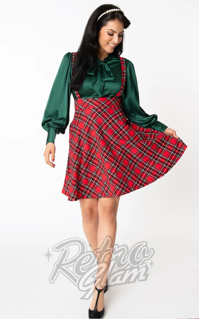 Unique Vintage Ruth Suspender Skirt in Red Plaid