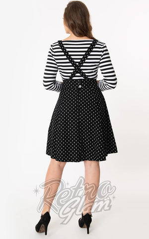 Unique Vintage Ruth Suspender Skirt in Black & White Skull Print back