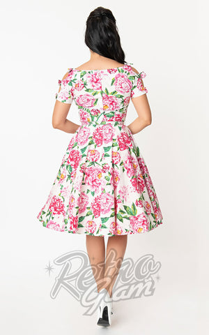 Unique Vintage Selma 1950s Swing Dress in White & Pink Floral back