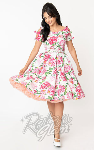 Unique Vintage Selma 1950s Swing Dress in White & Pink Floral