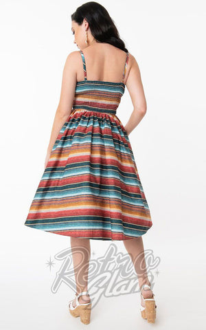 Unique Vintage Rockie Swing Dress in Serape Print back
