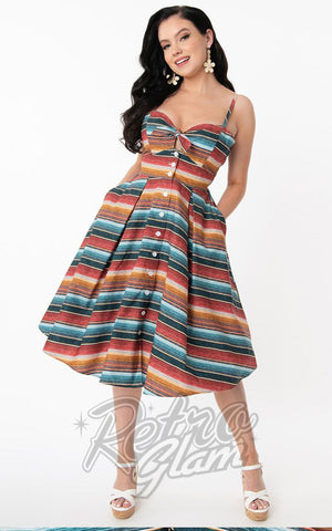 Unique Vintage Rockie Swing Dress in Serape Print