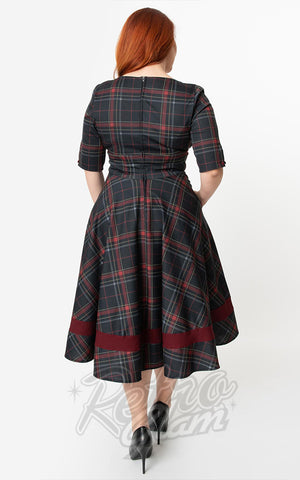 Unique Vintage Serena Dress in Burgundy & Black Plaid curvy back