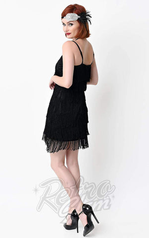 Unique Vintage Speakeasy Flapper Dress in Black back