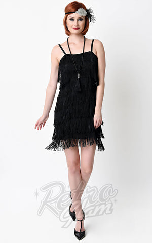Unique Vintage Speakeasy Flapper Dress in Black