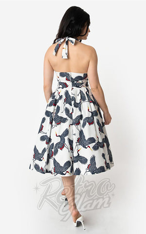Unique Vintage Tarrytown Hostess Dress in White & Navy Cranes back