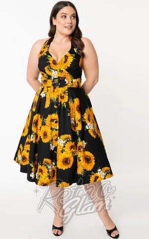 Unique Vintage Tarrytown Hostess Dress in Black Sunflower Print curvy