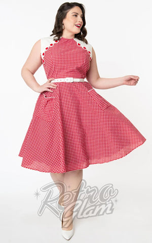 Unique Vintage Tully Dress in Red & White Gingham plus size