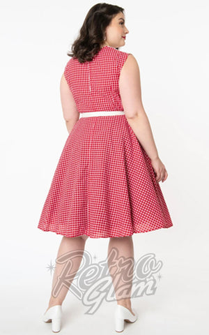 Unique Vintage Tully Dress in Red & White Gingham plus size back