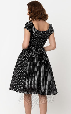 Unique Vintage Valencia Dress in Black & White Dot back