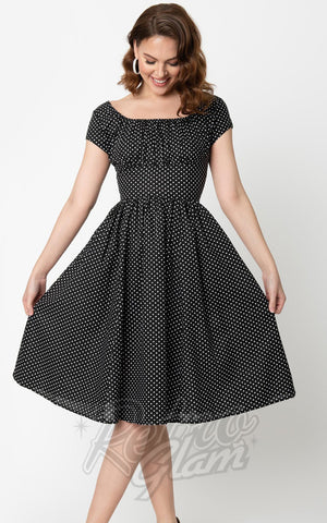 Unique Vintage Valencia Dress in Black & White Dot swing