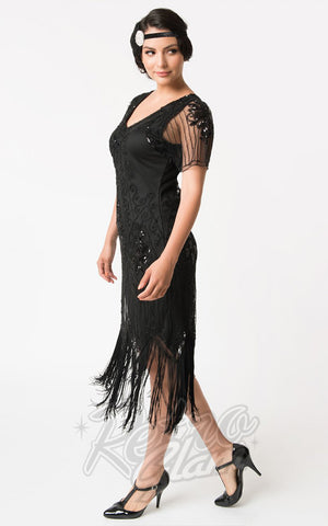 Unique Vintage Valentine Flapper Dress in Black side