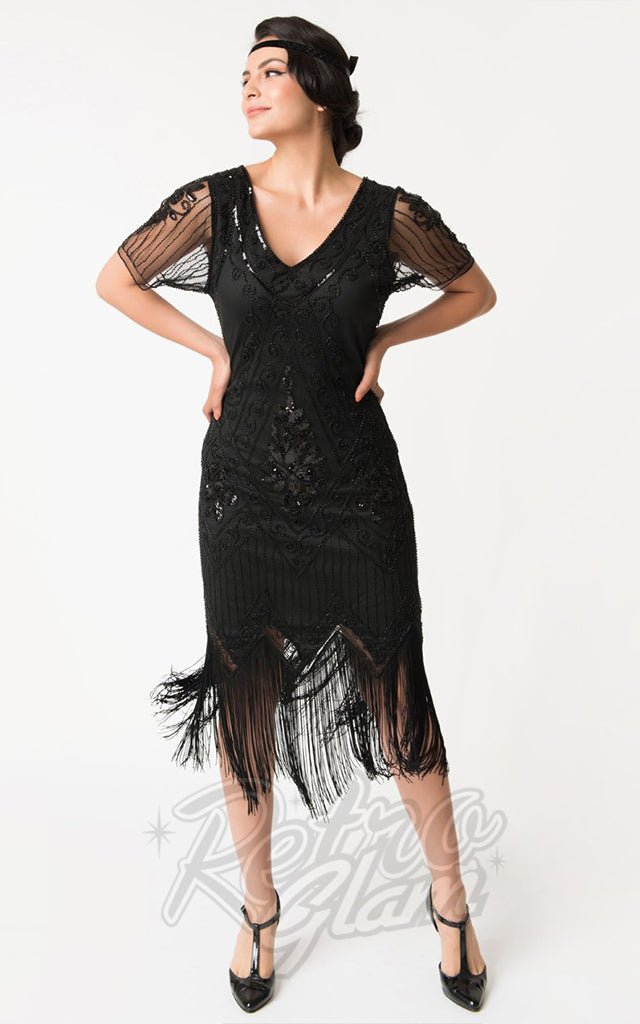 Unique Vintage Short Sleeved Valentine Flapper Dress in Black